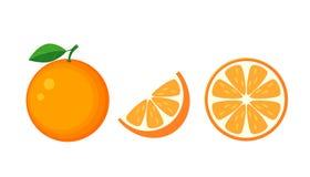 Kolorowa cała, połówka i plasterek pomarańcze z zielonym liściem, Wektor il Zdjęcia Royalty Free