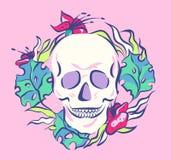 Kolorowa czaszka w kwiecistym wianku Stara Szkoła wektoru ilustracja royalty ilustracja