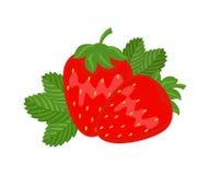 Kolorowa czerwona truskawka z zielonego liścia ilustraci wektorowym iso Obraz Stock