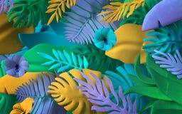 Kolorowa dżungla Opuszcza tło ilustracja wektor