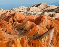 Kolorowa Danxia landform grupa Obraz Stock