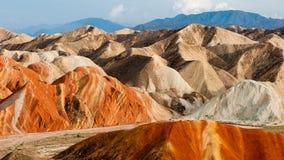 Kolorowa Danxia landform grupa Zdjęcia Stock
