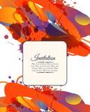 Kolorowa dekoracyjna zaproszenie karta z bezpłatnymi kształtami i kleksami Obrazy Royalty Free