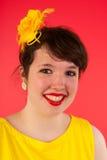 Kolorowa dziewczyna w czerwieni i kolor żółty zdjęcie royalty free