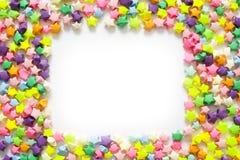 Kolorowa fałdowa papier gwiazda lub origami szczęsliwa gwiazda używać jak ramę Zdjęcie Royalty Free