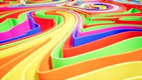 Kolorowa falowa gradientowa animacja Przyszłościowy geometryczny wzoru ruchu tło świadczenia 3 d ilustracji