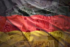Kolorowa falowanie niemiec flaga na euro tle Fotografia Stock