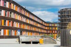 Kolorowa fasadowa Federacyjna środowisko agencja w Dessau obraz stock