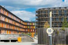 Kolorowa fasadowa Federacyjna środowisko agencja w Dessau fotografia royalty free