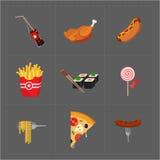 Kolorowa fast food ikona Ustawiająca na Popielatym tle Zdjęcia Stock