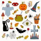 Kolorowa Halloween kolekcja symbole Zdjęcia Stock