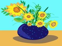 Kolorowa ilustracja głęboka błękitna waza z polek kropkami słoneczniki, pełno ilustracji
