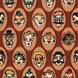 Kolorowa ilustracja śmieszne twarze bezszwowy Zdjęcia Stock