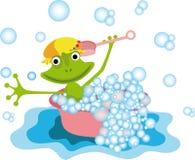 Kolorowa ilustracja z żabą ilustracja wektor