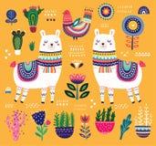 Kolorowa ilustracja z lamą royalty ilustracja