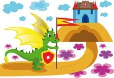 Kolorowa ilustracja z smokiem ilustracja wektor