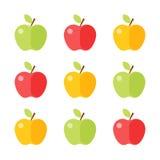 Kolorowa jabłczana ikona ustawia odosobnionego na białym tle wektor ilustracji