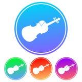 Kolorowa, kółkowa, gradientowa skrzypcowa sylwetka bielu ikona, Cztery kolor różnicy ilustracja wektor
