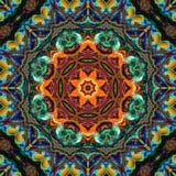 Kolorowa kalejdoskopu wzoru zieleń i pomarańcze Fotografia Royalty Free