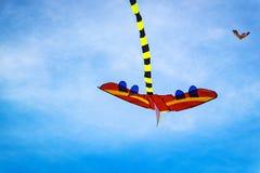 Kolorowa kania w niebieskiego nieba tle i miękka część chmurniejemy Obraz Stock