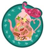 Kolorowa karta z parzeniem i pikantność dla herbaty również zwrócić corel ilustracji wektora ilustracji