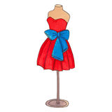 Kolorowa koktajl suknia z łękiem Zdjęcie Stock