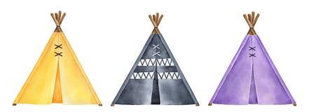 Kolorowa kolekcja śliczni teepee namioty ilustracyjni ilustracja wektor