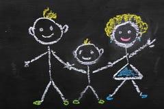 Kolorowa kredowa ilustracja rodzina dzieciakiem obraz royalty free