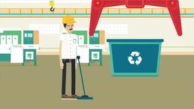 Kolorowa kreskówki animacja z śmieciarskim przetwarza fabryki, ekologii i środowiska pojęciem, Pracownik w żółtym hełmie royalty ilustracja