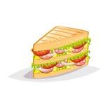 Kolorowa kreskówka fasta food ikona na białym tle Kanapka z salami i serem Zdjęcie Stock