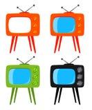 Kolorowa kreskówka retro tv na wysokość stojaka secie ilustracji