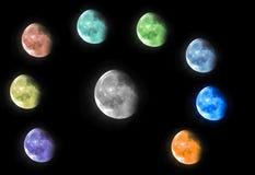 Kolorowa księżyc w ciemnej nocy Fotografia Stock