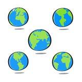 Kolorowa kuli ziemskiej ziemia, Wektorowy ilustracyjny płaski kreskówka projekta st Obraz Stock
