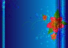 Kolorowa kwiatu muśnięcia tekstura na błękitnym Wektorowym tle Obrazy Royalty Free