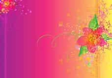 Kolorowa kwiatu muśnięcia tekstura na różowym Wektorowym tle Obrazy Royalty Free