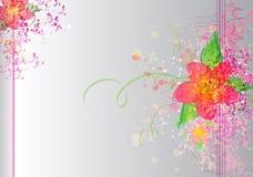 Kolorowa kwiatu muśnięcia tekstura na srebnym Wektorowym tle Obraz Stock