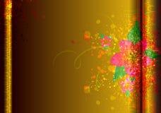 Kolorowa kwiatu muśnięcia tekstura na złocistym Wektorowym tle Obrazy Royalty Free