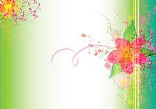 Kolorowa kwiatu muśnięcia tekstura na zielonym Wektorowym tle Obrazy Stock