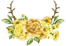 Kolorowa kwiecista kolekcja z liści i kwiatów bukietem ilustracja wektor