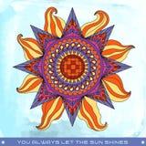 Kolorowa lata słońca ilustracja z zwrotem Zdjęcie Stock