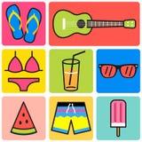 Kolorowa lato ikona, iść plaża set Zdjęcia Stock