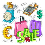 Kolorowa majcher skala, torby i wpisowa sprzedaż Zdjęcia Royalty Free