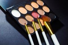 Kolorowa makeup paleta z makeup muśnięciem Fotografia Stock