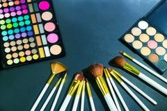 Kolorowa makeup paleta z makeup muśnięciem, koloru filtr Obraz Stock