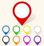 Kolorowa mapy szpilki ikona w mieszkanie stylu ilustracji