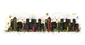 Kolorowa metropolia, abstrakcjonistyczny tło dla twój projekta ilustracji