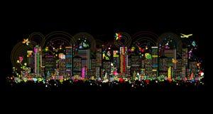 Kolorowa metropolia, abstrakcjonistyczny tło dla twój projekta royalty ilustracja