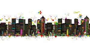 Kolorowa metropolia, bezszwowy wzór dla twój projekta royalty ilustracja