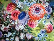 Kolorowa miękka tkanina z malującymi różnymi kwiatami zdjęcia royalty free