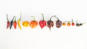 Kolorowa mieszanka gorącego chili pieprze Zdjęcia Royalty Free